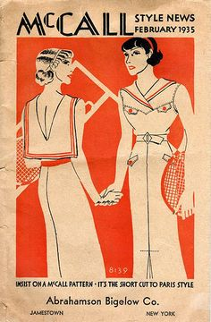 McCall Style News, February 1935 featuring McCall 8139