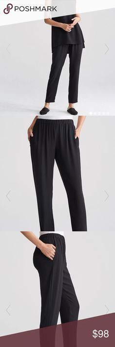 Eileen Fisher Black Silk Georgette Slouchy Pant Worn 1 time - like new!   An easy silhouette with a flattering tapered leg. Relaxed, yet refined. Easy through the hips and thigh, softly tapered at the ankle.   1 1/2-inch elastic waistband; slash pockets.  FABRIC: 100% Silk  Our signature Silk Georgette Crepe with a subtly textured matte surface. Light, fluid and versatile. Dresses up--or down. Dyed with safer chemistry and bluesign® certified. Eileen Fisher Pants Trousers