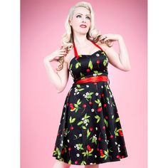 Look what I found on Red & Black Cherry Halter Dress - Women Dress Outfits, Cool Outfits, Fashion Outfits, Vestidos Vintage, Vintage Dresses, Chic Dress, Dress Up, H&r London, Pin Up Style