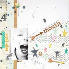 #papercraft #scrapbooking #layout -  https://flic.kr/p/sHMNZF | mouth Layout by Audrey Yeager using Crate Paper Craft Market.
