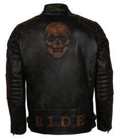 Embossed skull with padded coverage suited for motorcycle enthusiast. Avail mens leather jacket Black Friday offer now Motorcycle Leather, Biker Leather, Leather Men, Black Leather, Cowhide Leather, Best Leather Jackets, Men's Leather Jacket, Cafe Racer Jacket, Leather Factory