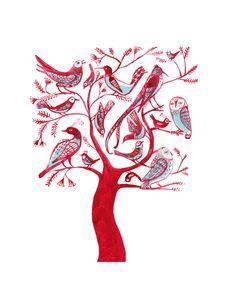 Red Birds tree, el árbol rojo de las aves, giclee print. $14.00, via Etsy.