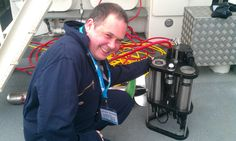 Chelsea's Customer Services Manager Bruce Kimber looking very happy to be using the FastOcean fast repetition rate fluorometer system during Ocean Business, Southampton.
