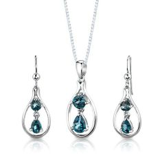 Sterling Silver Rhodium Finish 3.00 carats total weight Multishape London Blue Topaz Pendant Earrings and 18 inch Necklace Set . $49.99. Save 69% Off!