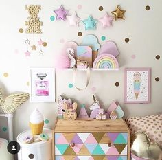 How adorable is this girls room? Add these confetti wall stickers for a beautiful wallpaper effect. Can you also spot our Wooden Camera Toy and Montessori Rainbow Blocks? Big Girl Bedrooms, Little Girl Rooms, Room Girls, 4 Year Old Girl Bedroom, Room Decor For Girls, Boy Decor, Kids Decor, Polka Dot Walls, Polka Dots