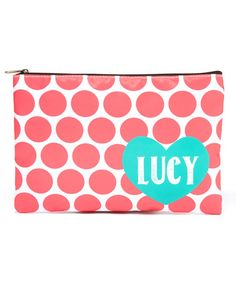 Loving this Orange Polka Dot Personalized Pencil Bag on #zulily! #zulilyfinds