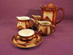 WAKU Keramik, Spritzdekor braun beige, Feuerfest kleines Sortiment 7 Teile  nur 55,00 Euro