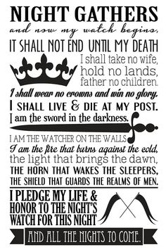 Game of Thrones Night's Watch Oath Vinyl Wall by StreamlineDesign