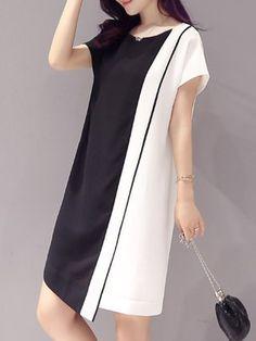 Black-white Color-block  Paneled Short Sleeve Midi Dress Beautiful Casual Dresses, Simple Dresses, Short Sleeve Dresses, Black And White Blouse, Black White, Batik Fashion, Color Blocking Outfits, Designer Dresses, Fashion Dresses