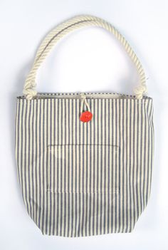 Blue and White French Ticking Striped Tote by UnOriginalAmericain, $40.00