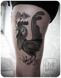 Rooster tattoo by David Hale. Girl Leg Tattoos, Dope Tattoos, Body Art Tattoos, New Tattoos, Tatoos, Awesome Tattoos, Wüsten Tattoo, Hawk Tattoo, Tatoo Art