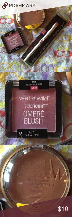 Wet n' Wild Bronzer+Ombre' Blush+Eyeshadow Brush Wet n't Wild Bundle.Only swatch but the small eyeshadow brand new never been use. Wet n' Wild Makeup Bronzer