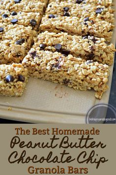 Homemade Peanut Butter Chocolate Chip Granola Bars Looking for a tasty, healthy, treat instead of purchased granola bars? This recipe goes together in minutes and you can feel good about feeding these chewy snacks to your family. Granola Bars Peanut Butter, Chocolate Chip Granola Bars, Chewy Granola Bars, Homemade Peanut Butter, Healthy Granola Bars, No Bake Granola Bars, Granola Bar Recipes, Granola Bar Recipe Easy, Vegan Granola Bars