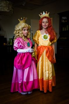 Halloween costumes I made.  Painful!  Thanks to Wendy from the Sewing Room in Beaverton Oregon.  Princess Peach and Princess Daisy