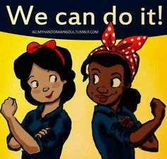 Snow White and Tiana as Rosie the Riveter Rosie The Riveter Poster, Face In Hole, Norman Rockwell Paintings, Happy International Women's Day, Pregnancy Stages, Destiny's Child, We Can Do It, Magic Art, New Face