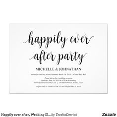 Shop Happily ever after, Wedding Elopement Invites created by TeeshaDerrick. Personalize it with photos & text or purchase as is! Elopement Party, Elopement Reception, Wedding Reception Invitations, Reception Ideas, Elopement Dress, Event Ideas, Post Wedding, Elope Wedding, Wedding Ideas