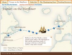 "Not Catholic religion, but teaching other faiths. This Scholastic site includes an interactive map of the journey across the Atlantic Ocean and a view ""inside"" the Mayflower to see and hear about the parts of the ship. 5th Grade Social Studies, Teaching Social Studies, Student Learning, Study History, History Class, Family History, Plymouth Colony, Virtual Field Trips, School"