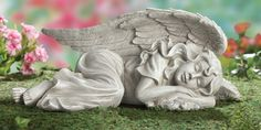 Peaceful Sleeping Garden Angel - serenity, tranquil, heavenly