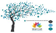 Wall Craft Cherry Blossom Wall Sticker in Charcoal Grey, Dark Turquoise and Ethereal Blue.