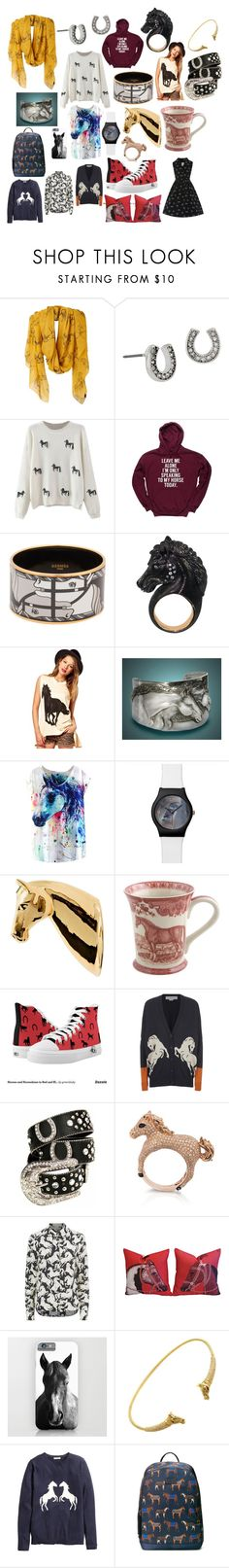 """""""Haute Horse"""" by kawaiiqueen3 ❤ liked on Polyvore featuring Joules, Betsey Johnson, Hermès, Bosa, STELLA McCARTNEY, Effy Jewelry, H&M and Gucci"""