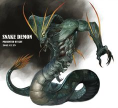 Snake Demon(reproduction) by Sugisaki-Key on DeviantArt Snake Art, Cool Monsters, Dnd Monsters, Alien Creatures, Fantasy Creatures, Demon, Fantasy Monster, Fantasy Dragon, Snake Monster