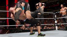 WWE The Authority: Mr Money in the Bank Seth Rollins, Kane & Big Show with Jamie Noble & Joey Mercury vs John Cena, 3-on-1 Handicap Match