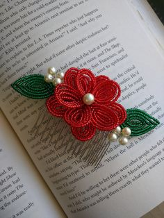 Red Flower Hair Comb with Pearl Accents, French Beaded Flower Hair Comb, Red…