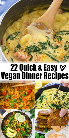 Are you looking for easy vegan dinner recipes now that the kids are back in school? I've got you covered with 22 simple vegan recipes that are perfect for the whole family. Lots of one pot recipes as well as pasta and rice dishes! Vegan Recipes Easy Healthy, Quick Easy Vegan, Easy Vegan Dinner, Quick Vegan Meals, Vegan Dinner Recipes, High Protein Vegan Recipes, Vegetarian Recipes, Quick Recipes, Dinner Healthy