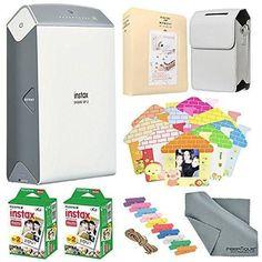 Fujifilm Instax SHARE Smartphone Printer SP-2(Silver) w/Instant Film, Custom Designed Case & Cloth