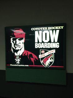 Great sign in Phoenix's Sky Harbor Airport Coyotes Hockey, Arizona Coyotes, Season Ticket, Sky, Sports, Heaven, Hs Sports, Heavens, Sport