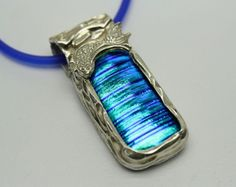 Fine Silver and Blue Dichroic Glass Pendant, Wave Pattern, Handmade  | ShanghaiTai - Jewelry on ArtFire