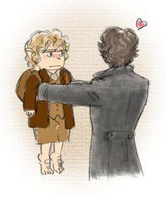 Sherlock BBC + Hobbit - does it count as Johnlock? It's definitely adorable. Sherlock Bbc, Sherlock Fandom, Jim Moriarty, Johnlock, Martin Freeman, Benedict Cumberbatch, Tolkien, O Hobbit, Hobbit Art