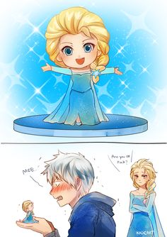 """Jack Frost from """"Rise of the Guardians"""", Elsa from """"Frozen"""", and a figurine - Art by Kadeart"""
