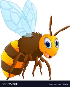 Honey bee on a white background Royalty Free Vector Image Bee Rocks, Alfabeto Animal, Alphabet Pictures, Cute Bee, Kids Patterns, Animated Cartoons, Cute Animal Pictures, Animation, Stone Art