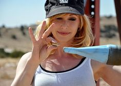 Kari Byron compares the size of a bullet with that of an RPG for the Red Bazooka episode. [New Kari Byron slideshow]