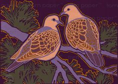 TURTLE DOVES together for life  The Wonders of by tornpaperco, $4.50