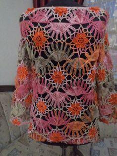 hairpin mercerized crochet blouse / poor sleeve blouse/ ready to be sent . / Size Medium from elmasmuhterem on Etsy. Gilet Crochet, Tunisian Crochet, Crochet Blouse, Knitted Shawls, Knit Crochet, Broomstick Lace Crochet, Hairpin Lace Crochet, Unique Crochet, Crochet Stitches Patterns