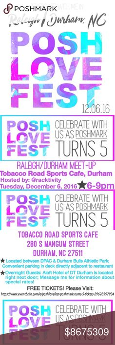PoshLoveFest--Poshmark Is 5!! Host: @racktivity #PoshLoveFest! Please join us for a special meetup for the Raleigh/Durham and surrounding area (all in NC welcome!) at Tobacco Road Sports Cafe of Durham--located between DPAC & DBAP; Convenient free event parking in adjacent deck! Overnight guests, please message me for special rate info for ALOFT hotel, which is also right next door to the event. Details, RSVP & FREE TICKETS available at…