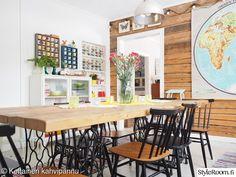 lankkupöytä,ruokapöytä,tuolit,ruokailutila,astiat