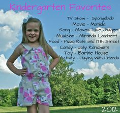 End of the School Year. Kindergarten Favorites.