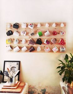 A great way to display a mug collection! Love! Could you do this in an apt though? How much wall damage...?