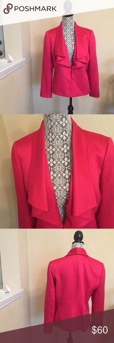 "Tahari Arthur S. Levine Double Cascade Blazer 12P Stunning jacket with a flattering design. Hook and eye closure at waist. Length 24 3/4, underarm - underarm 21"", sleeves 30/31. Tahari Jackets & Coats Blazers"