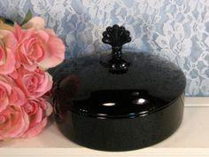 Cambridge Glass Ebony Black Pristine Three Part Candy Dish, Crest Top Handle, Antique Vintage Glass, 1920s 1930s Elegant Depression Glass by havetohaveit on Etsy https://www.etsy.com/listing/254211117/cambridge-glass-ebony-black-pristine
