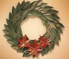 Christmas Paper Bag Wreath. I could paint it silver for Hanukkah.