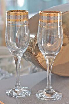 Vintage flute champagne glasses