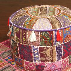 Indian Patchwork Embroidered Ottoman Pouf India Ethnic Home Decor Stool Chair $47.99