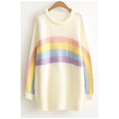 Cute Rainbow Color Block Round Neck Long Sleeve Long Sweater ($44) ❤ liked on Polyvore featuring tops, sweaters, color-block sweater, long sleeve sweater, long sleeve tops, cotton sweaters and block top
