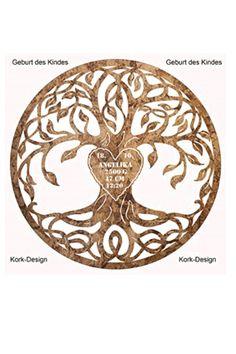 Baum des Lebens aus Holz Lebensbaum Personalisiert mit Herz ausschnitt Kork Design Wand Deko Wohnzimmer Deko   Geschenkidee