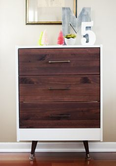 Go dramatic with a dark wood stain + opaque white paint job.