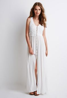 summer dress Crochet Yoke Maxi Dress | Forever 21 - 2000053551